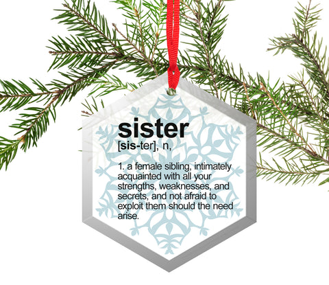 Sister Definition Funny Glass Christmas Ornament