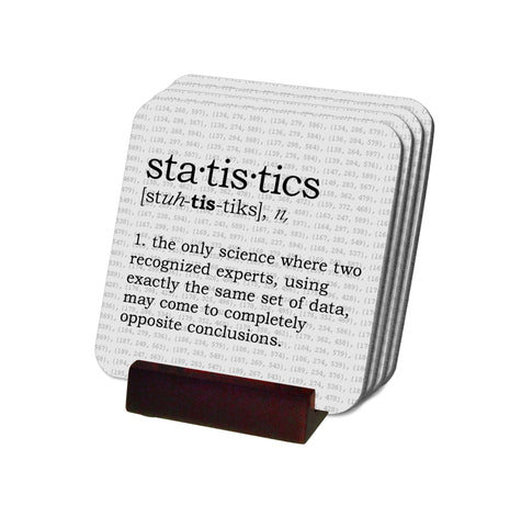Statistics Definition Coasters with Display Holder