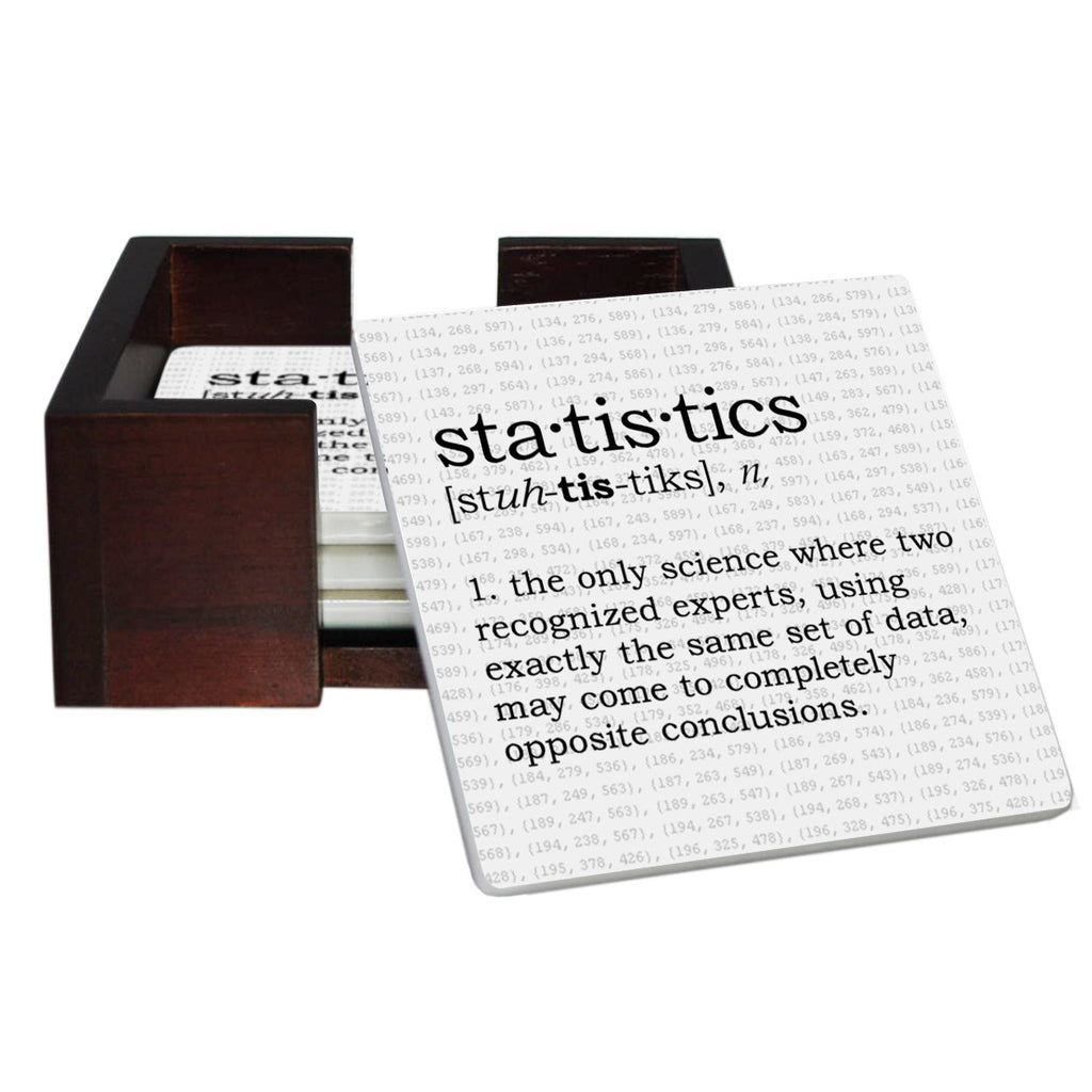 Statistics Definition Coaster Set - Sandstone Tile 4 Piece Set - Caddy Included