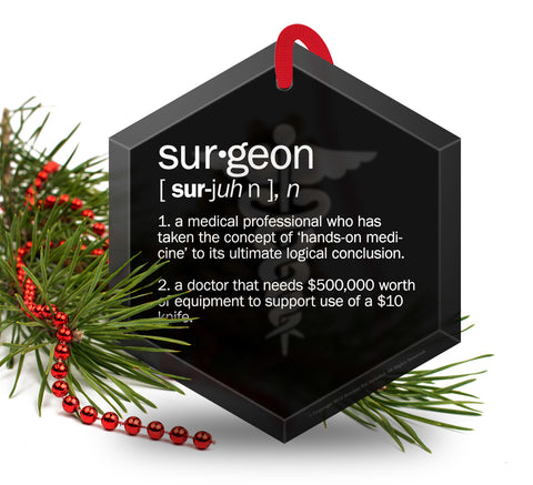 Surgeon Definition Funny Glass Christmas Ornament