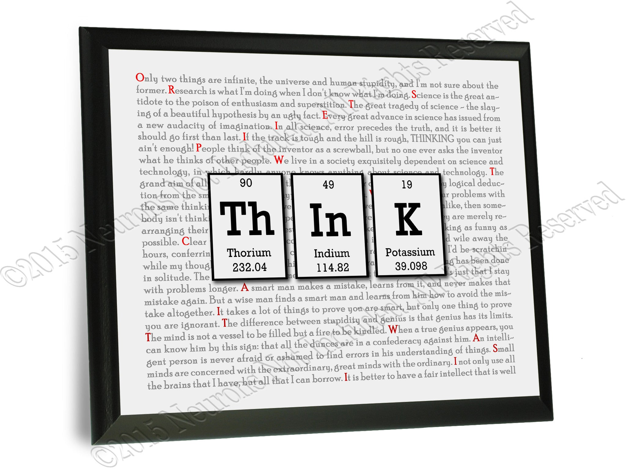 Think periodic table of elements wall plaque 9x12 neurons not think periodic table of elements typography wall plaque urtaz Image collections