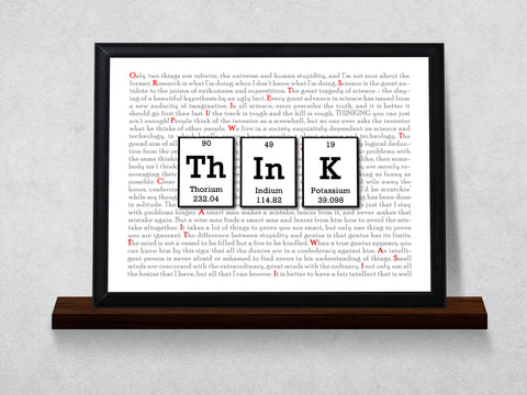 Think Periodic Table of Elements Typography Wall Plaque