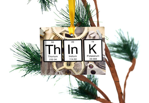 Think Periodic Table of Elements Glass Christmas Ornament