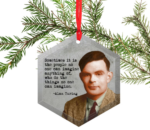 Alan Turing Glass Christmas Ornament