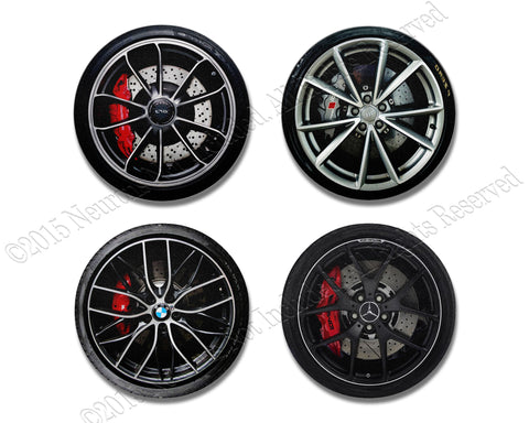 Luxury Car Wheels Coaster Set- neoprene for drinks.