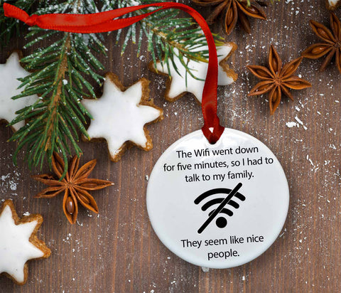 Wifi Went Down Ceramic Christmas Ornament