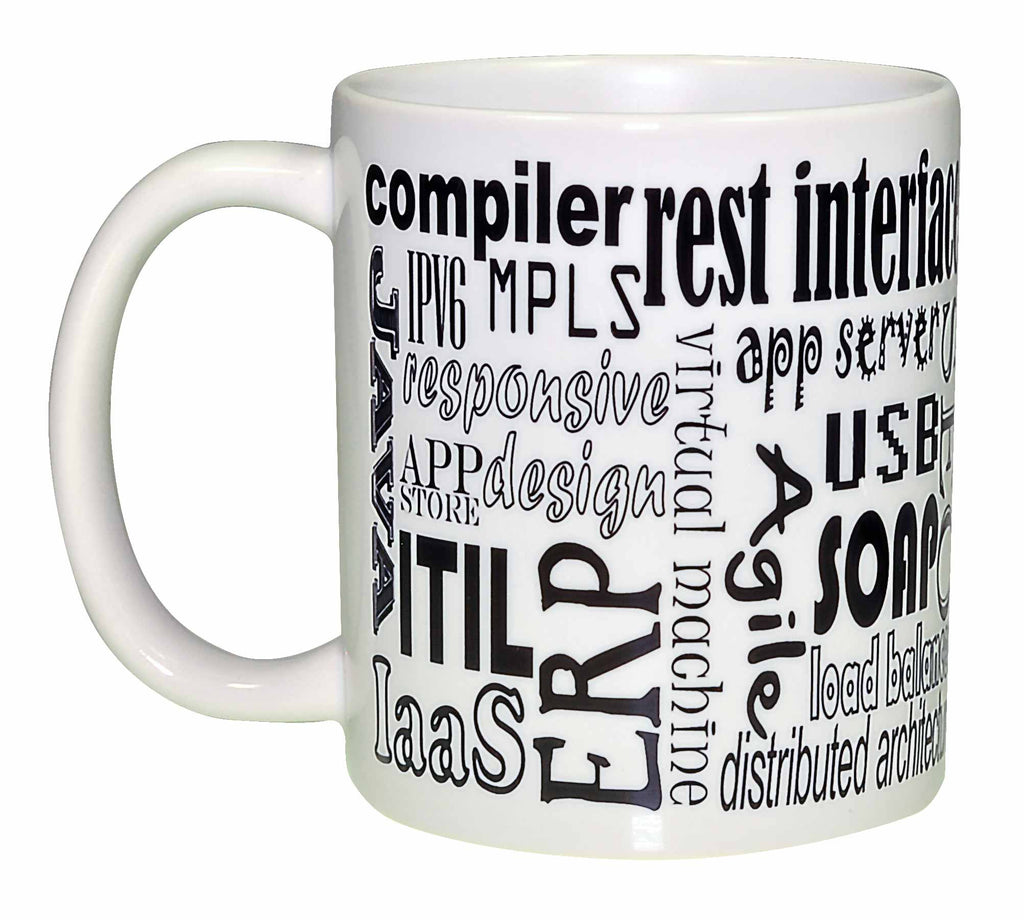 Computer Programming Terms Wraparound Coffee or Tea Mug