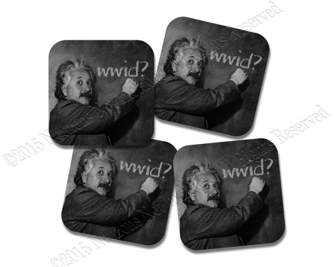 What Would Einstein Do - Neoprene 4 Piece  Coasters  Set