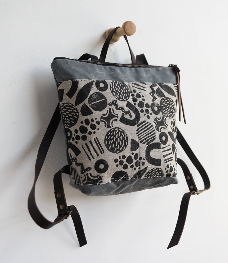 SMALL back pack - block printed
