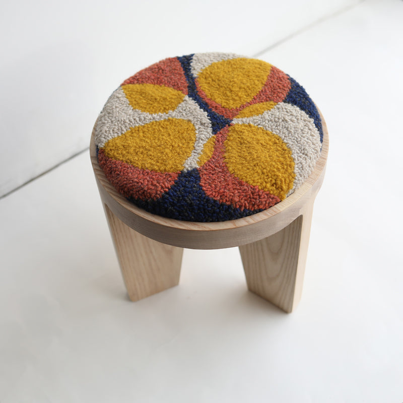 wood stool 1 with punch needle top