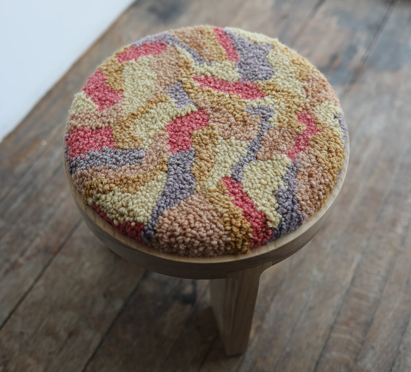 wood stool 2 with punch needle top