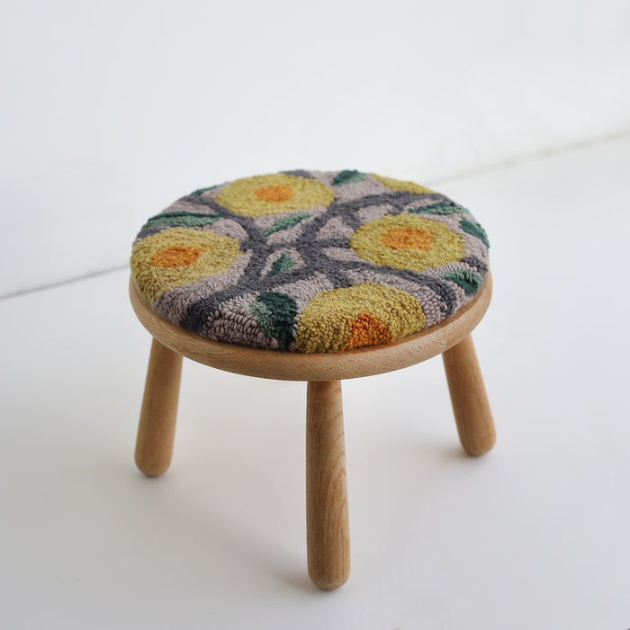 WOOD STOOL no.3 with punch needle top