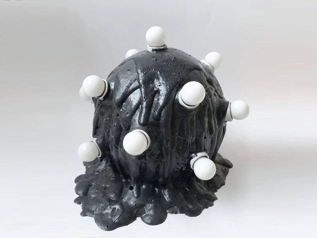 Black Foam Orb Lamp
