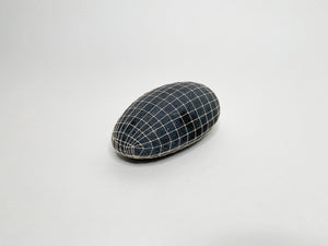 Long Gray Gridded Oval