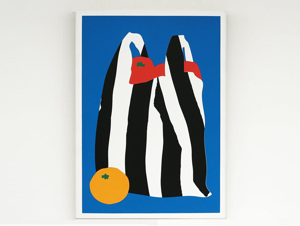 Striped bag full of tomatoes with an orange on the side Screenprint