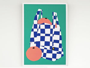 Some Tropical Fruit in a Checkered Shopping Bag Screenprint