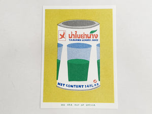 Can of Yanang Leaves Juice Risograph