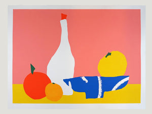 Big Screen Print of a Still Life with a Fruit Bowl