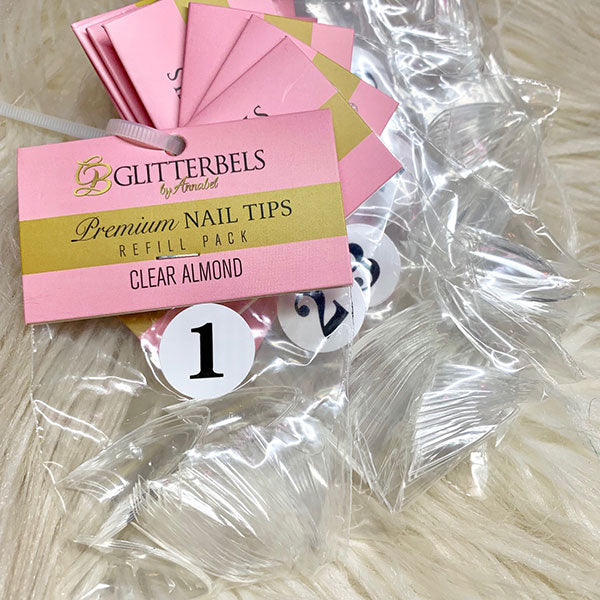 Glitterbels Clear Almond Tips Refill 50 Pack - The Nail Throne