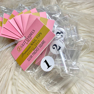 Glitterbels Clear Pinched Square Tips Refill 50 Pack - The Nail Throne