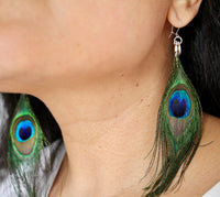 Peacock feather and sterling silver earrings