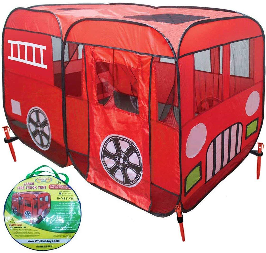 separation shoes 96a88 07f11 Large Children Fire Engine Truck Pop-Up Playhouse Play Tent (with No-Step)  at Front Door for Easy Access of Toddlers Boys Girls Kids to Pretend