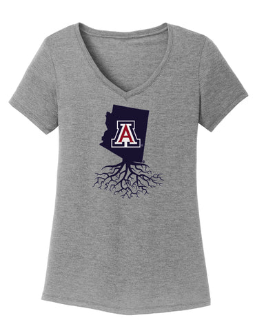 University of Arizona Women's Traditional Fit Tri-Blend V-Neck