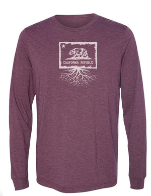 California Flag Unisex Long Sleeve Tri-Blend Crew Tee