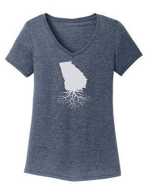 Georgia Women's Traditional Fit Tri-Blend V-Neck