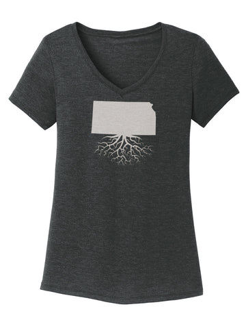 Kansas Women's Traditional Fit Tri-Blend V-Neck