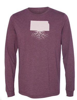 Kansas Unisex Long Sleeve Tri-Blend Crew Tee