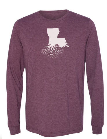 Louisiana Unisex Long Sleeve Tri-Blend Crew Tee
