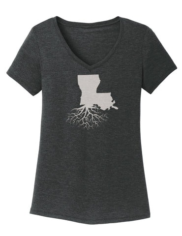 Louisiana Women's Traditional Fit Tri-Blend V-Neck