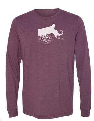 Massachusetts Unisex Long Sleeve Tri-Blend Crew Tee
