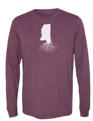 Mississippi Unisex Long Sleeve Tri-Blend Crew Tee