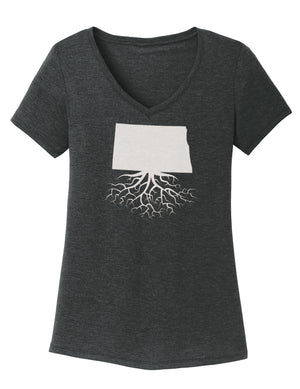 North Dakota Traditional Fit Tri-Blend V-Neck