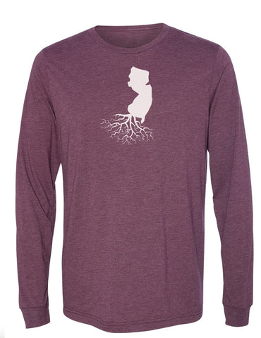 New Jersey Unisex Long Sleeve Tri-Blend Crew Tee