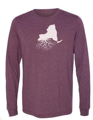 New York Unisex Long Sleeve Tri-Blend Crew Tee