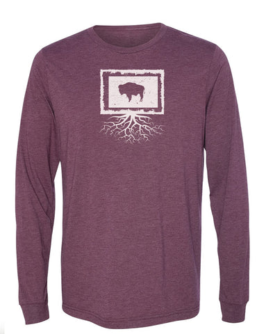 Wyoming Unisex Long Sleeve Tri-Blend Crew Tee