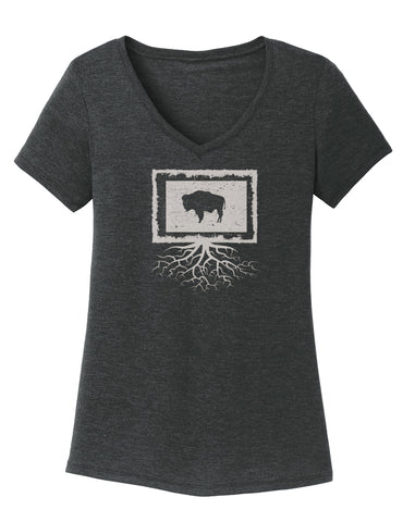 Wyoming Women's Traditional Fit Tri-Blend V-Neck