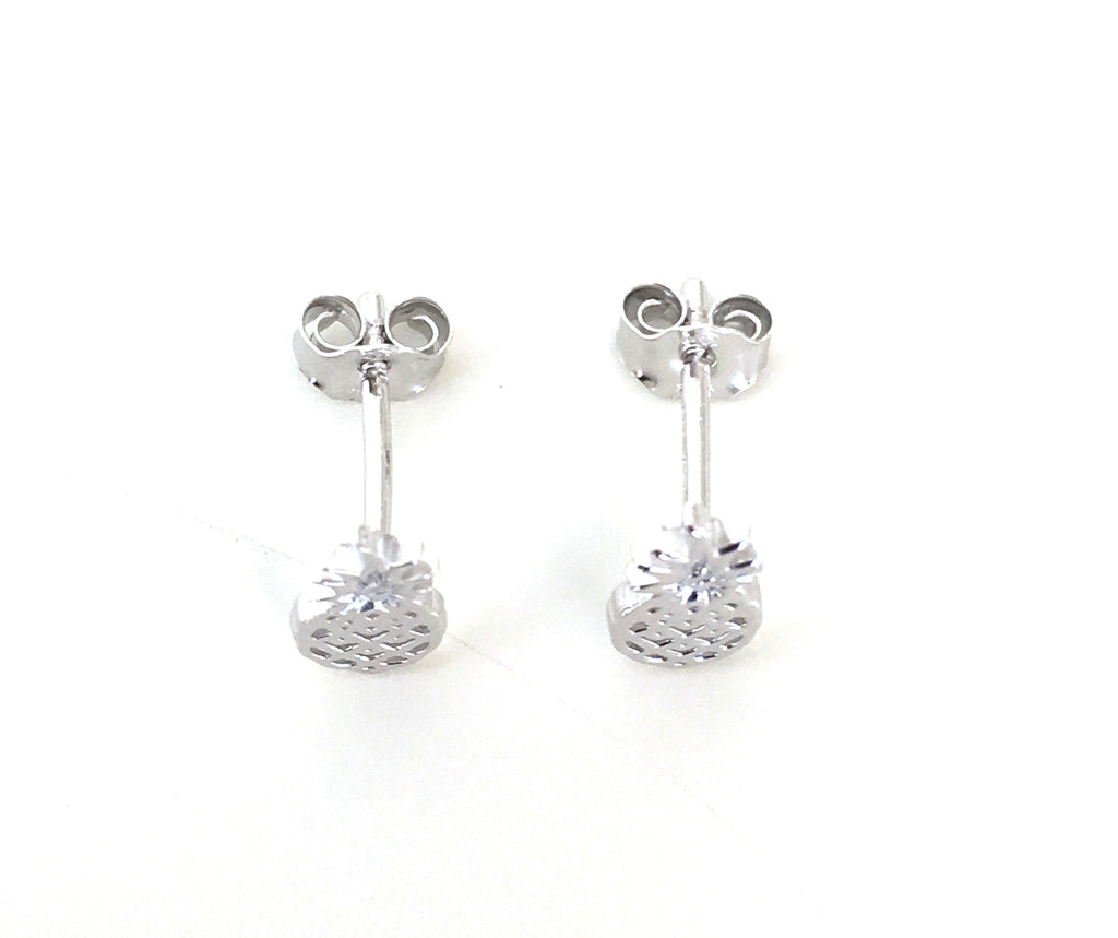 Pineapple Silver Earrings