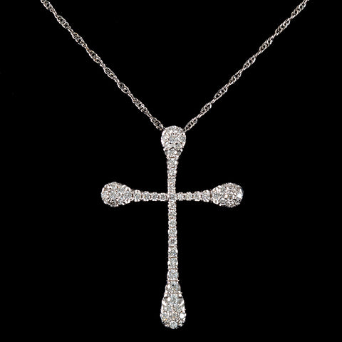 Unique Rounded Diamond Cross Necklace