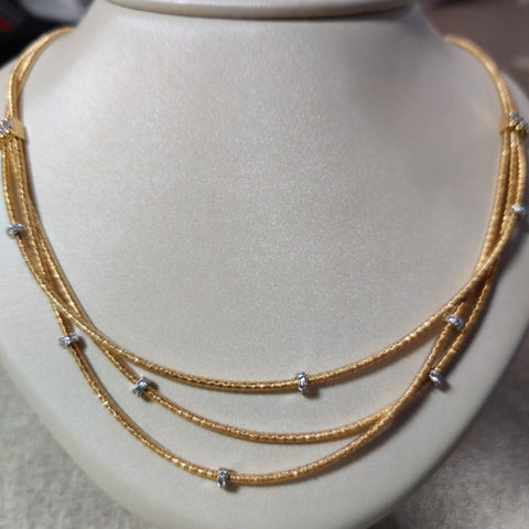 18k Yellow Gold 3 strand Necklace