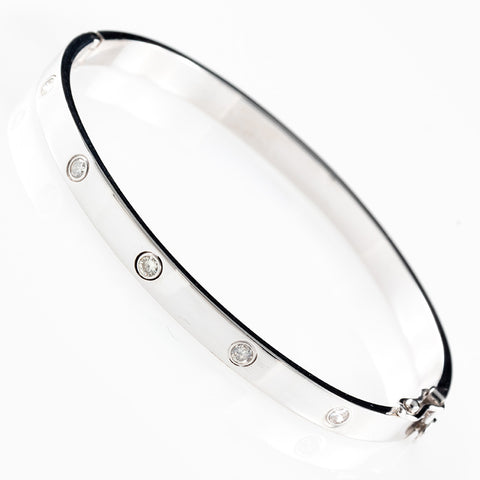 White Gold Bezel Set Bangle