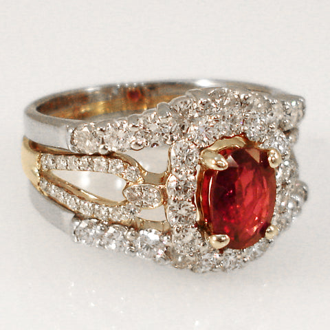 Two Tone Gold Ruby Ring With Halo