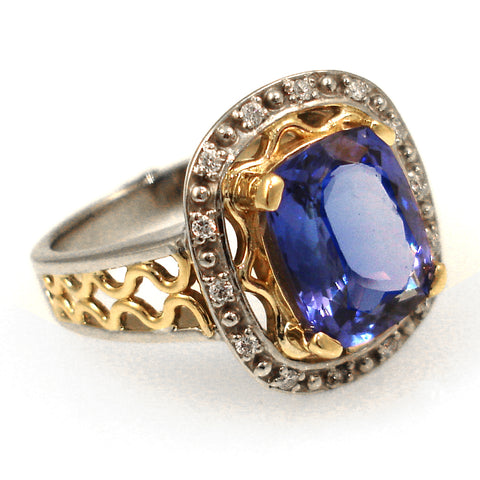 Custom Vintage Style Tanzenite Ring