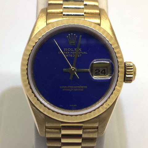 Ladies Rolex Gold & Blue Datejust