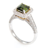 Chrome Diopside Diamond Ring