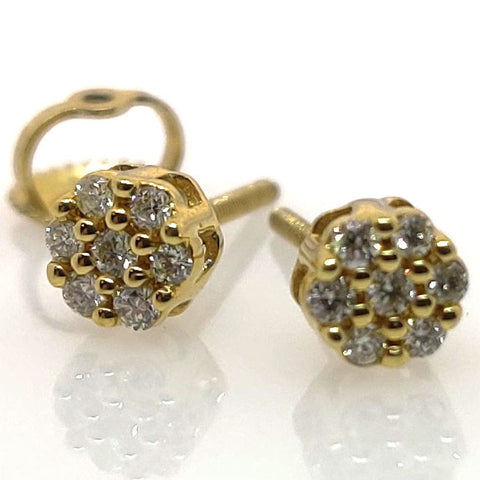 10k YG Diamond Earrings Screwbacks
