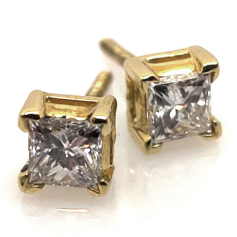 14k YG Princess Cut Diamond Earrings